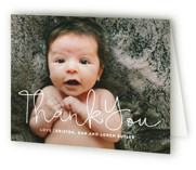 This is a pink baby thank you card by Up Up Creative called Signature with standard printing on strathmore in standard.