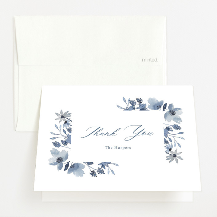 """Dusty Floral"" - Birth Announcements Thank You Cards in Blueberry by Mayflower Press."
