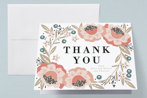 Floral Corner Frame Birth Announcements Thank You Cards