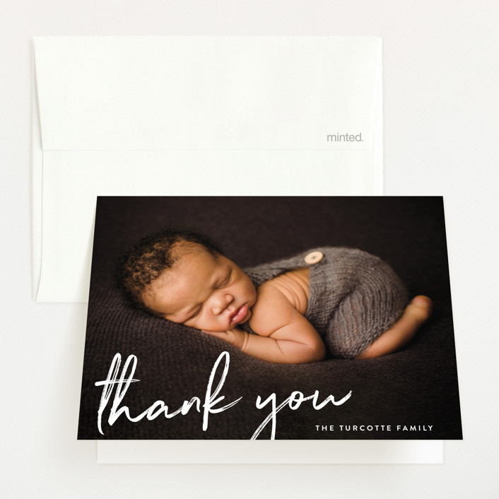 """""""Scripted"""" - Modern Birth Announcements Thank You Cards in Snow by Sara Hicks Malone."""