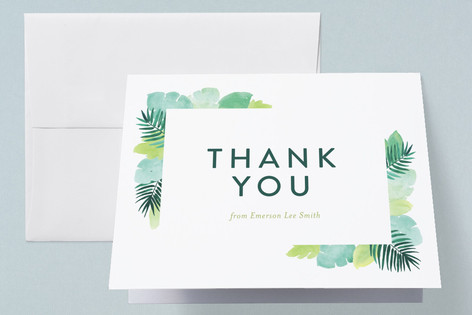 Tropical Foilage Birth Announcements Thank You Cards