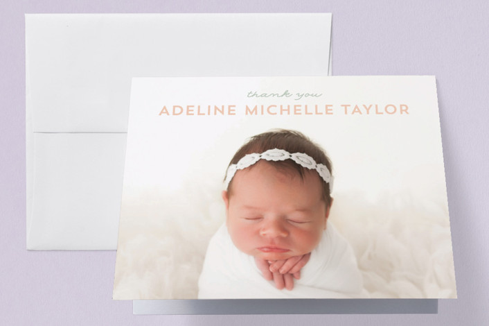 """""""Sweet News"""" - Birth Announcements Thank You Cards in Peach by JoAnn Jinks."""