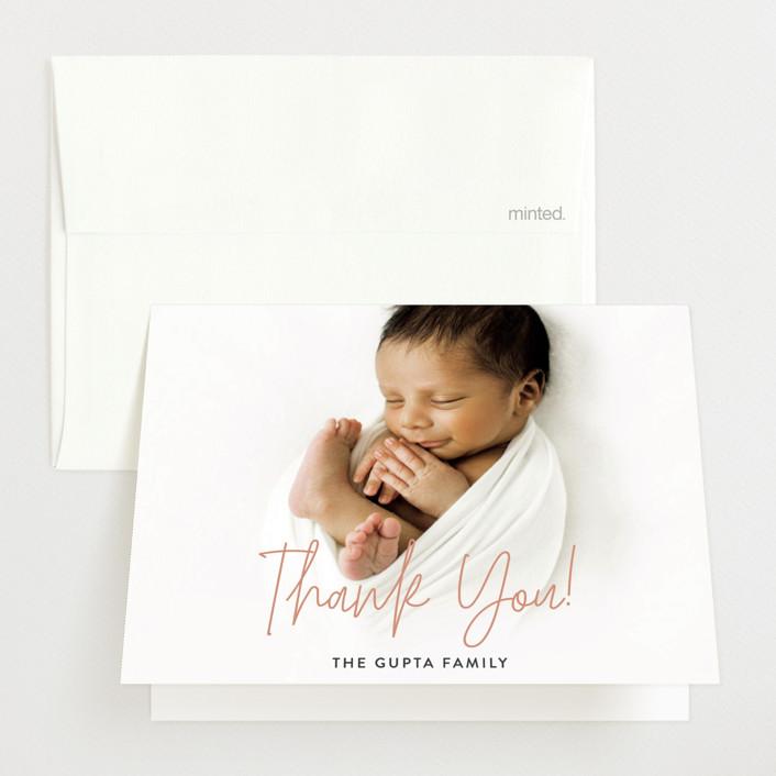 """Hello Everyone"" - Modern Birth Announcements Thank You Cards in Mustard by Ashley Rosenbaum."