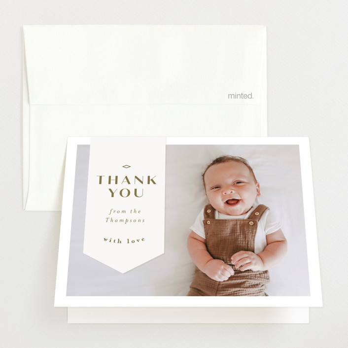 """Pennant"" - Preppy Birth Announcements Thank You Cards in Olive by Anastasia Makarova."
