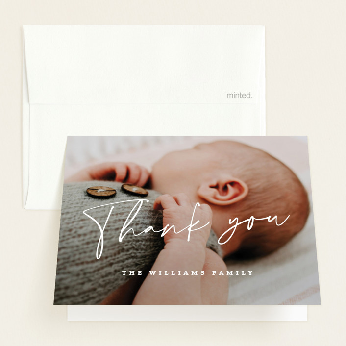 """""""Simplest"""" - Modern Birth Announcements Thank You Cards in Petal by Rebecca Daublin."""