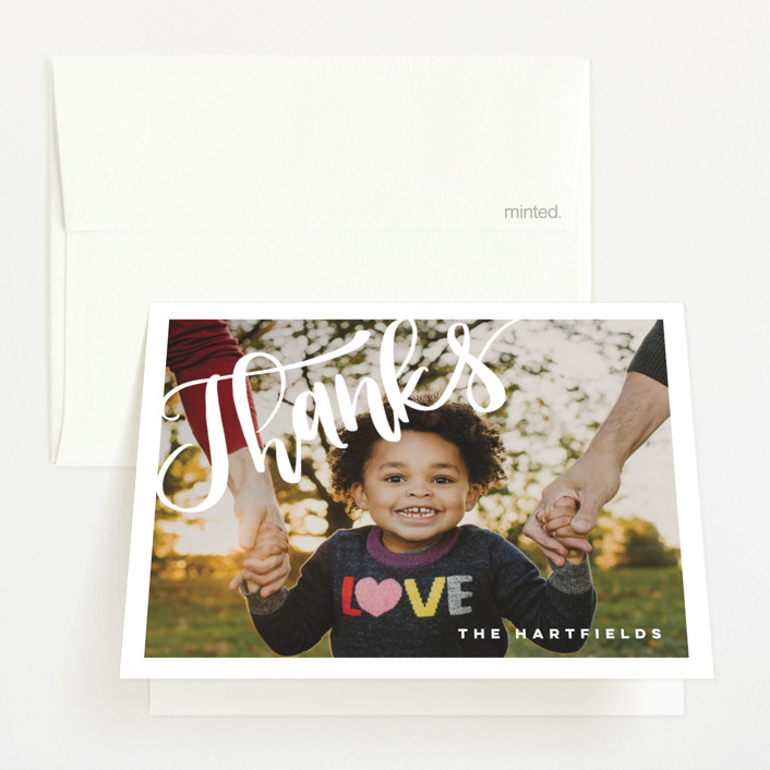 """""""Finally Home"""" - Modern Birth Announcements Thank You Cards in Snow by Pink House Press."""