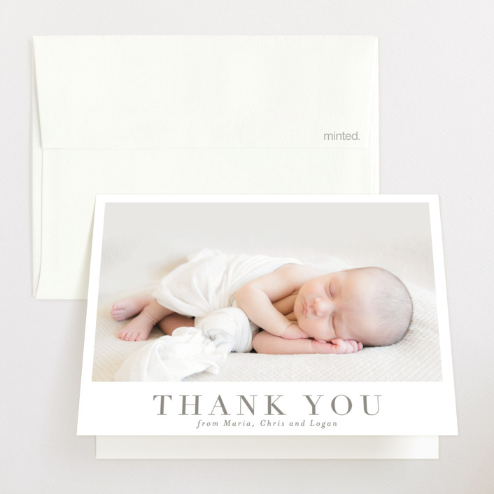 """Menil"" - Birth Announcements Thank You Cards in Fawn by Toast & Laurel."