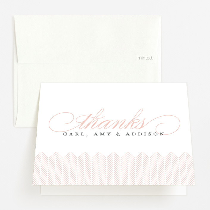 """""""Graceful Entrance"""" - Birth Announcements Thank You Cards in Flamingo by Jessica Williams."""
