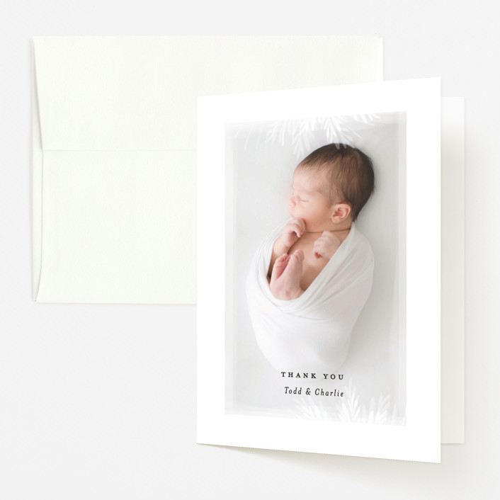 """whispering botanicals"" - Birth Announcements Thank You Cards in Cotton by Faith Dorn."