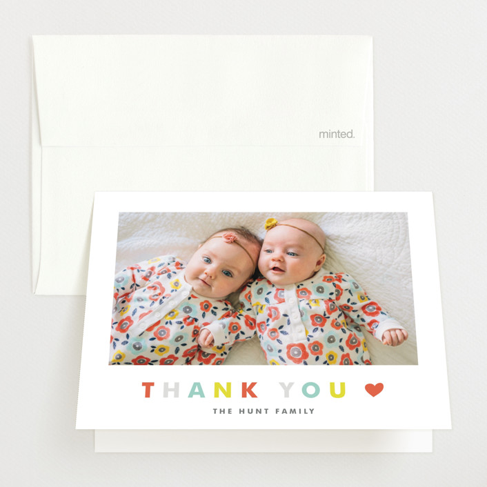 """""""Double the Love"""" - Modern Birth Announcements Thank You Cards in Apple by Carolyn MacLaren."""