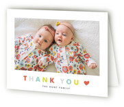 This is a colorful baby thank you card by Carolyn MacLaren called Double the Love with standard printing on strathmore in standard.