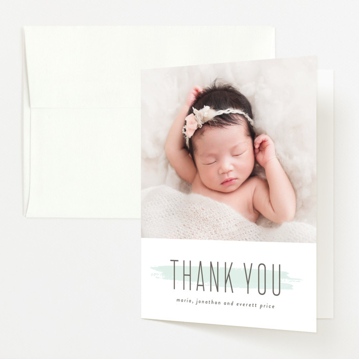 """brushed gallery"" - Birth Announcements Thank You Cards in Mint by Susan Asbill."