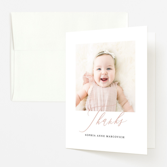 """""""Happy Baby"""" - Birth Announcements Thank You Cards in Peach Bud by Benita Crandall."""