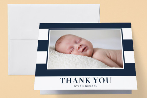 Classic Stripe Birth Announcements Thank You Cards