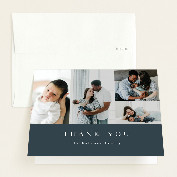 """Modern Album"" - Modern Birth Announcements Thank You Cards in Grayish Blue by Ana Sharpe."