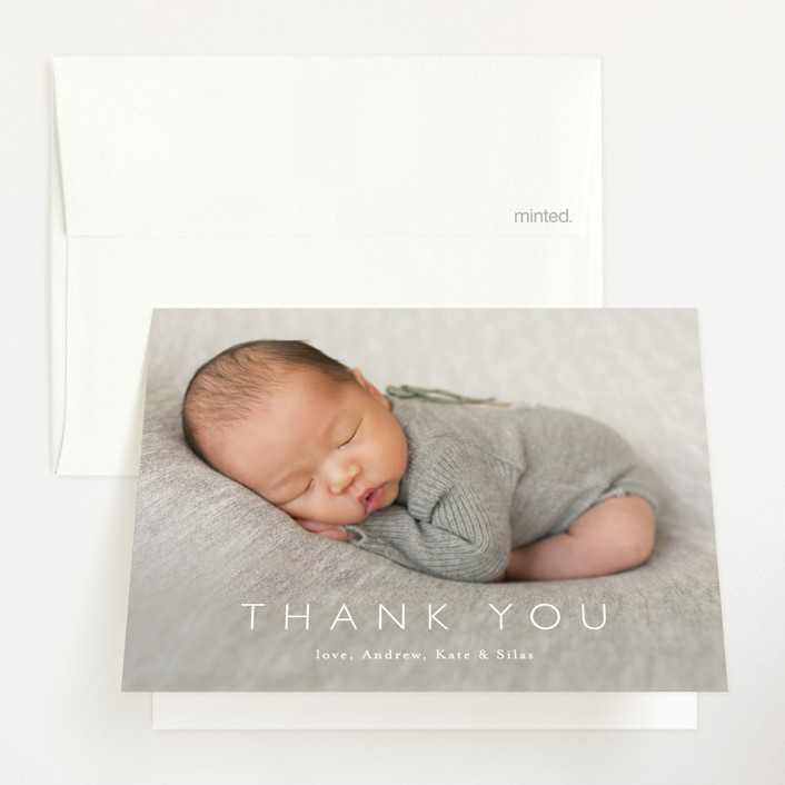 """""""Baby Bliss"""" - Birth Announcements Thank You Cards in Cloud by Carolyn MacLaren."""
