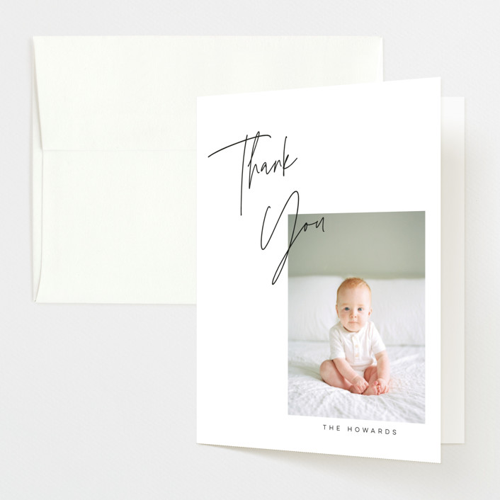 """""""Overlapped"""" - Birth Announcements Thank You Cards in Noir by Morgan Kendall."""