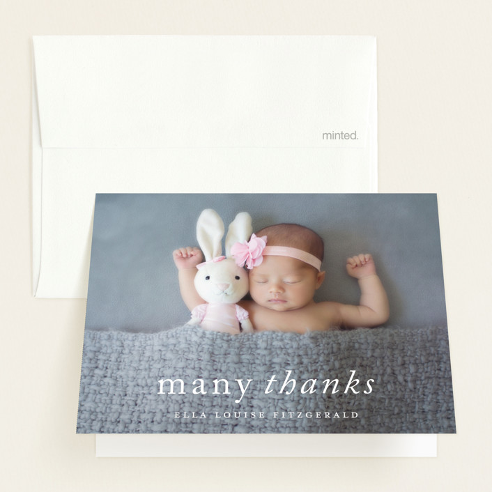 """Purest Joy"" - Funny Birth Announcements Thank You Cards in Pearl by Kimberly FitzSimons."
