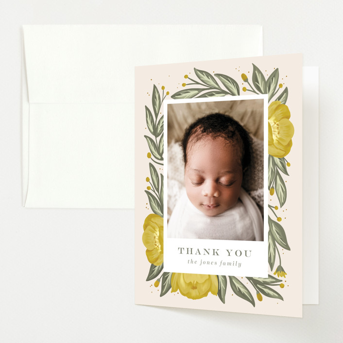 """""""Spring bouquet"""" - Birth Announcements Thank You Cards in Mustard by Joanna Griffin."""