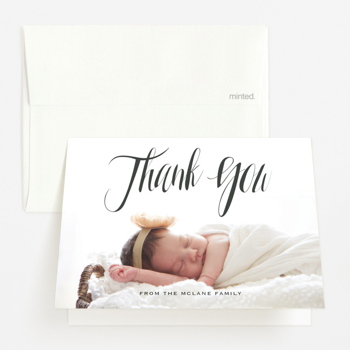 """""""In the Clouds"""" - Modern Birth Announcements Thank You Cards in Slate by Kasia Labocki."""