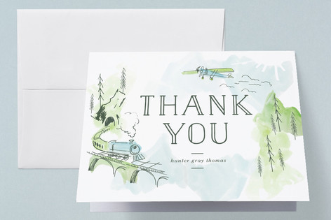 Baby Train Birth Announcements Thank You Cards