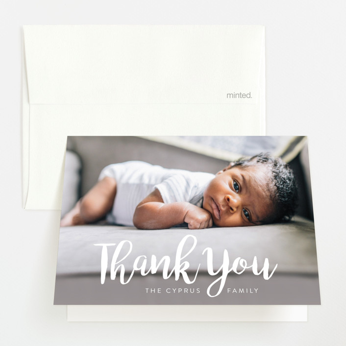 """Big & Bold"" - Modern Birth Announcements Thank You Cards in Cloud by Iba Aziz."