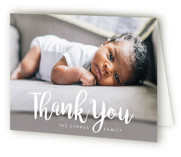This is a white baby thank you card by Iba Aziz called Big & Bold with standard printing on strathmore in standard.