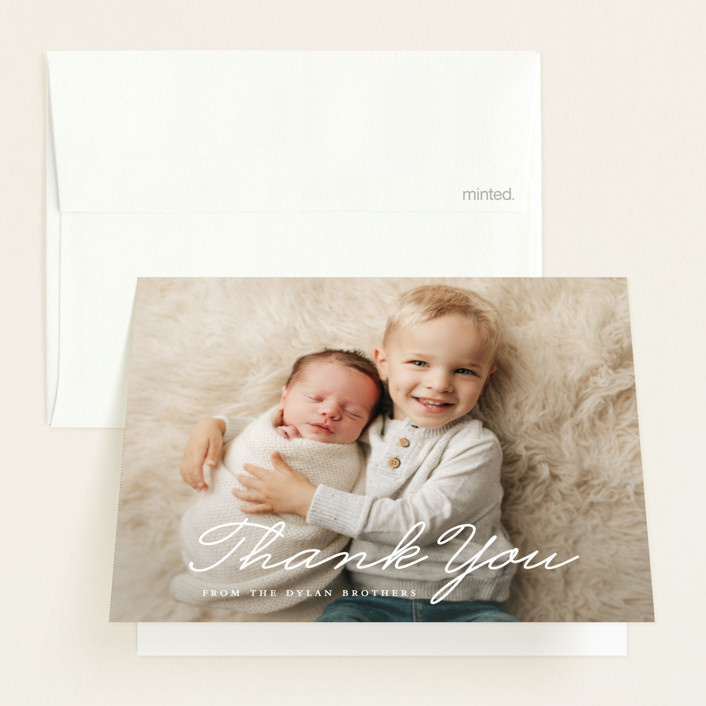 """Oh Brother"" - Funny Birth Announcements Thank You Cards in Snow by Bethany Anderson."