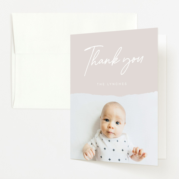 """""""torn paper"""" - Birth Announcements Thank You Cards in Clay by Morgan Kendall."""