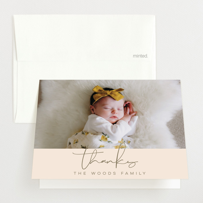 """""""Signature Babe"""" - Modern Birth Announcements Thank You Cards in Peach by Jessica Williams."""