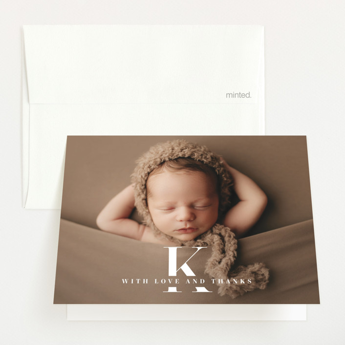 """""""My Monogram"""" - Birth Announcements Thank You Cards in Milk by fatfatin."""