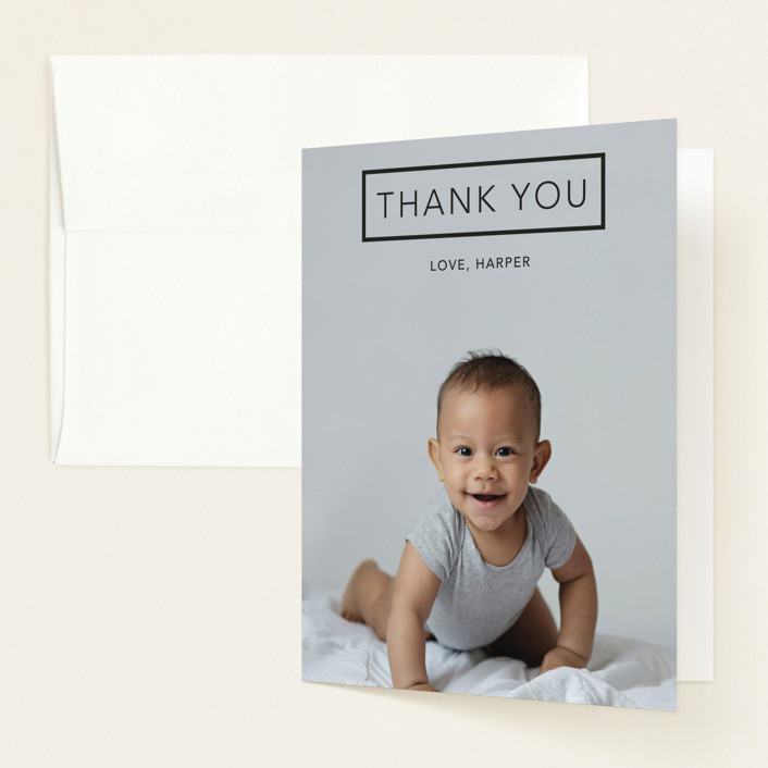 """Miracles Happen"" - Birth Announcements Thank You Cards in Coal by Johanna McShan."