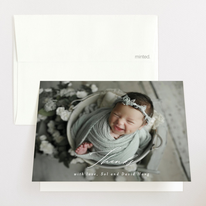 """Our Little Bundle"" - Modern Birth Announcements Thank You Cards in Snow by Mansi Verma."