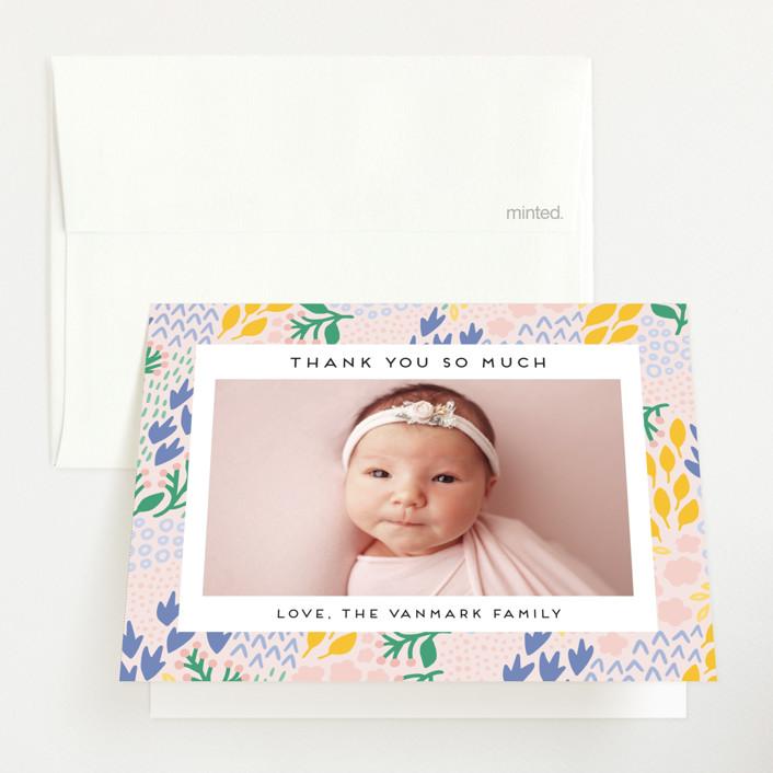 """Little Foliage"" - Birth Announcements Thank You Cards in Blush by Genna Blackburn."