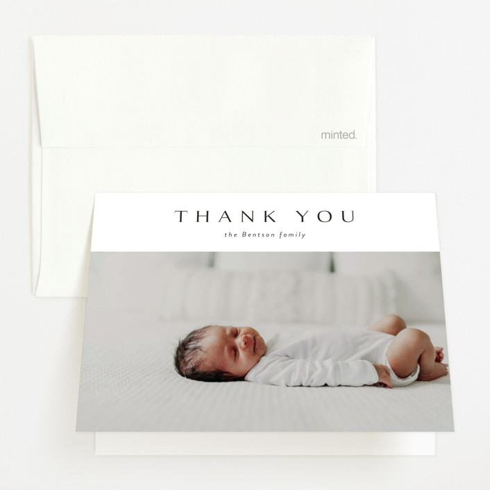 """love multiplied"" - Birth Announcements Thank You Cards in Onyx by Kasia Labocki."