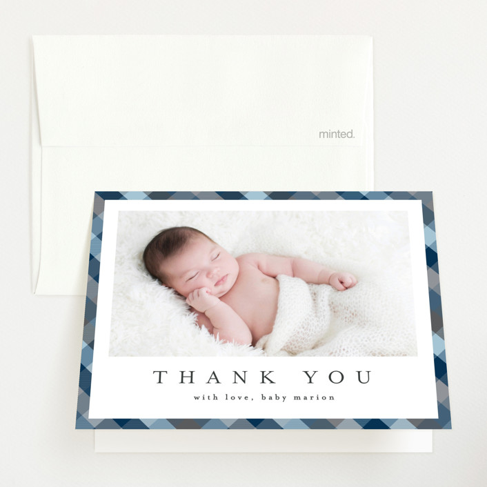 """Desert Plaid"" - Preppy Birth Announcements Thank You Cards in Terracotta by Erica Krystek."