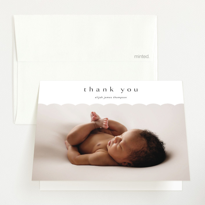 """Sweet Simplicity"" - Preppy Birth Announcements Thank You Cards in Onyx by Kasia Labocki."