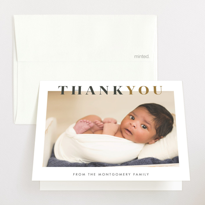 """""""Nicknamed Newborn"""" - Preppy Birth Announcements Thank You Cards in Orche by Julie Murray."""