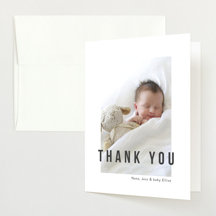 """Pure Love"" - Modern Birth Announcements Thank You Cards in Slate by Kasia Labocki."