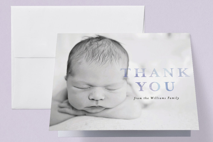 """initial introduction"" - Birth Announcements Thank You Cards in Sky by Rebecca Durflinger."