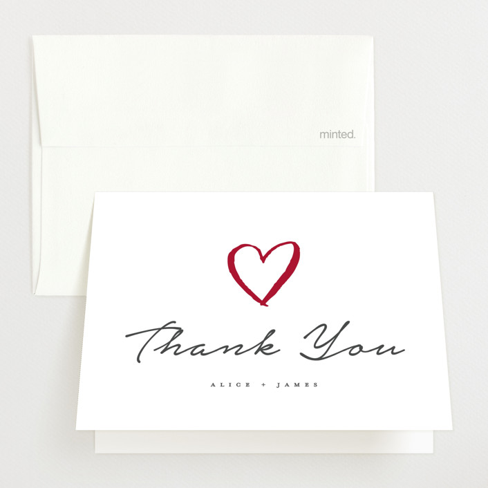 """""""written announcement"""" - Birth Announcements Thank You Cards in Charcoal by Qing Ji."""