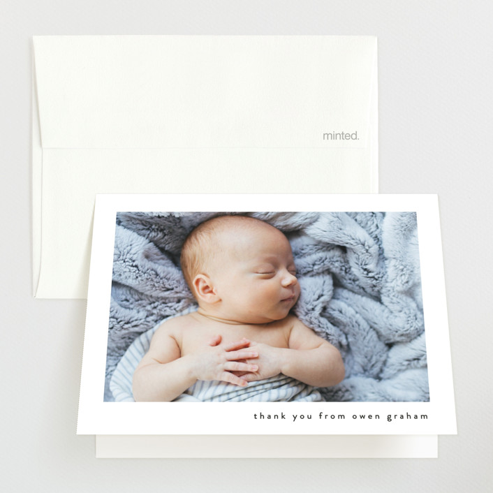 """""""Basic"""" - Birth Announcements Thank You Cards in Onyx by Lauren Chism."""