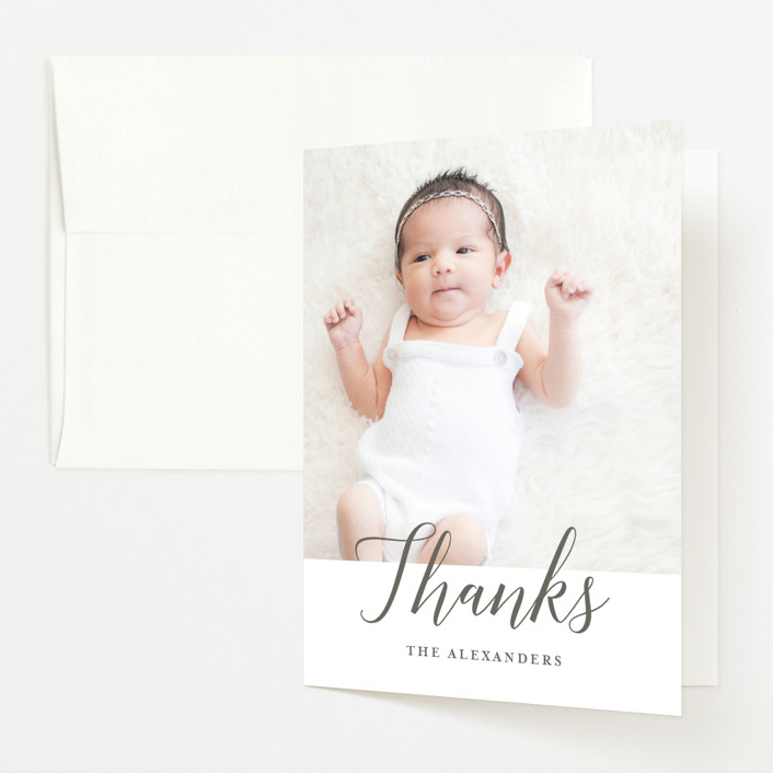 """""""Big Script"""" - Birth Announcements Thank You Cards in Smoke by Genna Cowsert."""