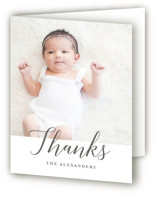 This is a grey baby thank you card by Genna Cowsert called Big Script with standard printing on strathmore in standard.