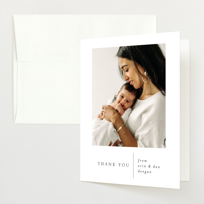 """""""Simple Stats"""" - Birth Announcements Thank You Cards in Cloud by Erin Deegan."""