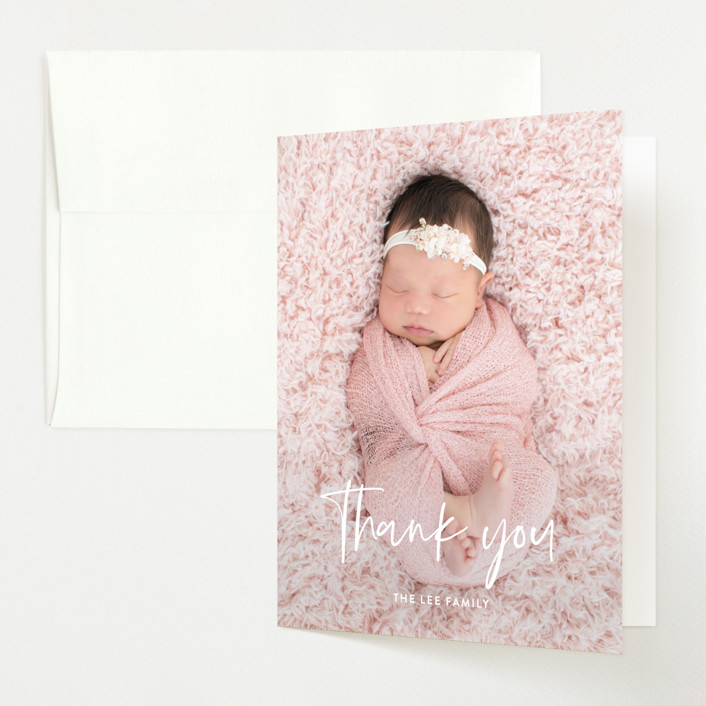 """""""Say My Name"""" - Modern Birth Announcements Thank You Cards in Snow by Yaling Hou Suzuki."""