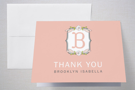 Meadow Monogram Birth Announcements Thank You Cards