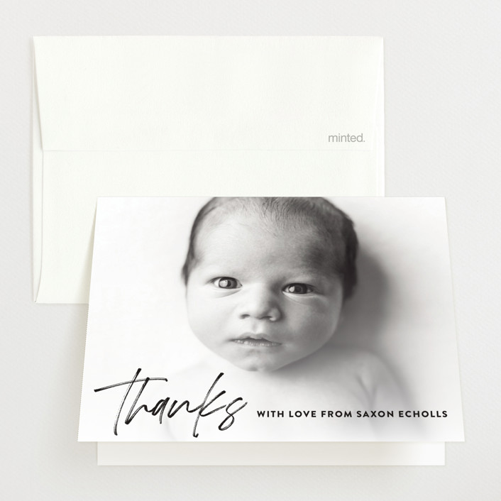 """Saxon"" - Modern Birth Announcements Thank You Cards in Galaxy by Up Up Creative."