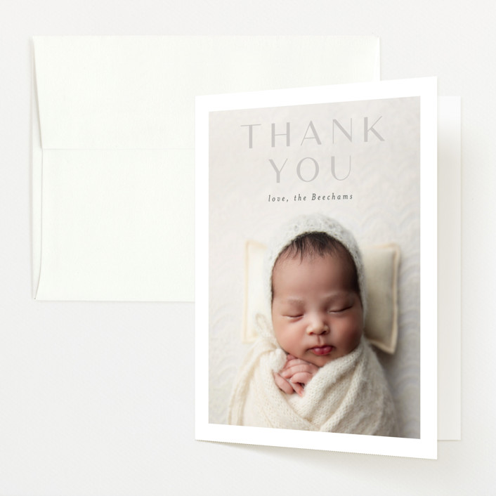 """""""serene debut"""" - Birth Announcements Thank You Cards in Cloud by Rebecca Durflinger."""