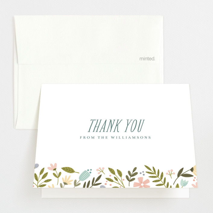 """""""Little Floral Frame"""" - Birth Announcements Thank You Cards in Buttercup by Kristen Magee."""